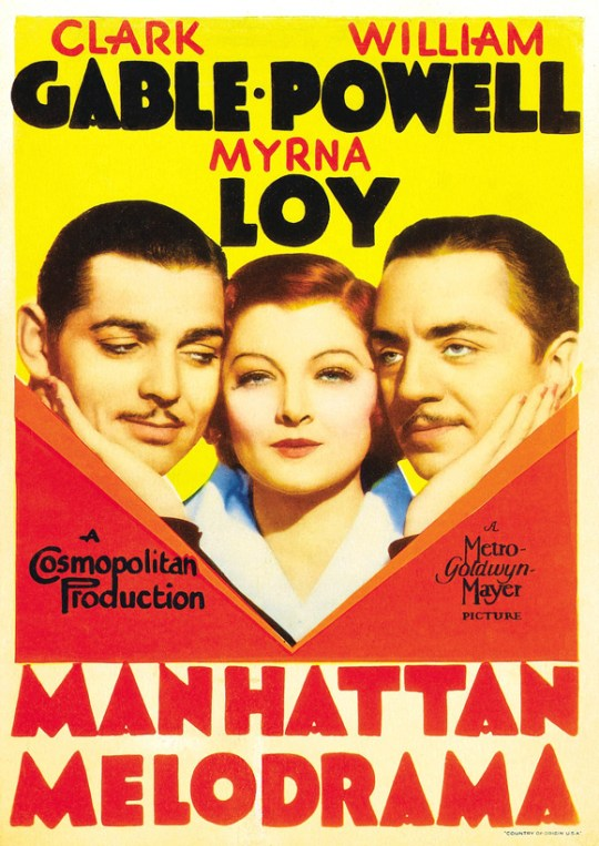 Poster for Manhattan Melodrama, 1934.
