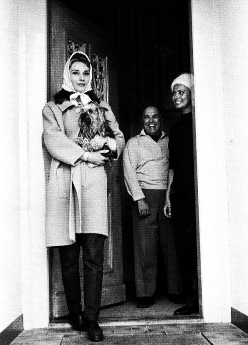 Audrey Hepburn visits Sophia Loren and her husband, producer Carlo Ponti in Switzerland.