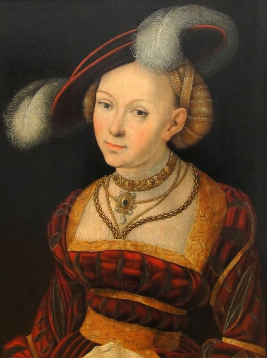 Lucas Cranach the Elder, Portrait of a Woman in Hat with Feathers