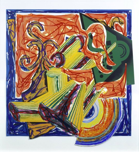 Frank Stella, American, b. 1936 The Butcher Came and Slew the Ox, from Illustrations after El Lissitzky's Had Gadya, 1984 Hand-colored and collaged with lithographic, linoleum block, and screen printings 56 7/8 × 53 3/8 in. (144.5 × 135.6 cm)