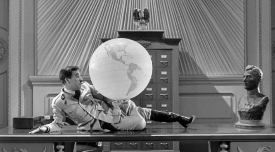 """Charlie Chaplin in The Great Dictator (1940) """"Had I known of the actual horrors of Nazi concentration camps, I could not have made The Great Dictator. I wanted to ridicule their mystic bilge about a pure-blooded race. The English office at United Artists were against my making an anti-Hitler film - until the war had started."""" -Chaplin, quoted in My Life in Pictures (1974)"""