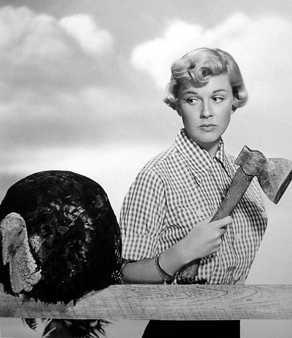 Doris Day, an animal rights activist, looks genuinely tragic at the turkey's fate.