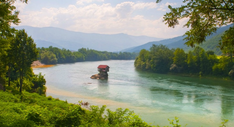 Lonely house on Drina river