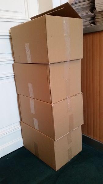Déménagement bibliothèque, cartons