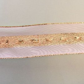 Ivory Gold Wired Christmas Ribbon