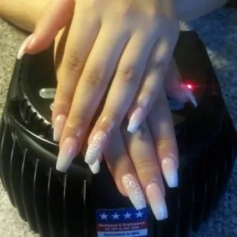 Coffin shaped nails done by our nail tech Susana