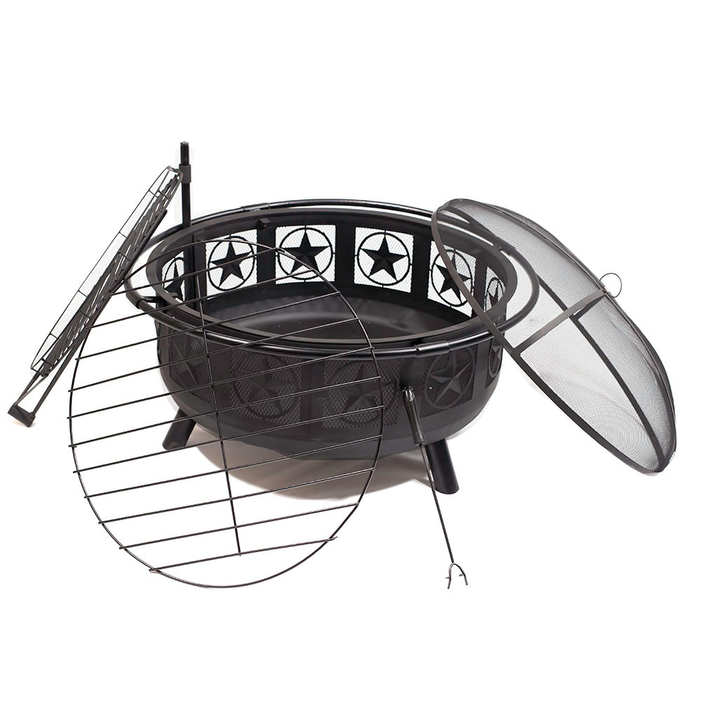 Sunnydaze Large All Star Fire Pit Bowl with BBQ Cooking Grate and Spark Screen, Outdoor Patio and Backyard Wood Burning Firepit, Black, 30 Inch