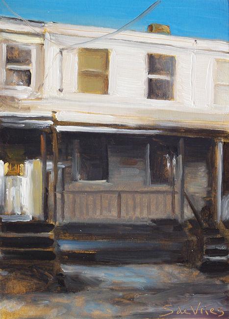 Schilderij Pennsylvania, olieverf op paneel, 13 x 20 cm, Serge de Vries