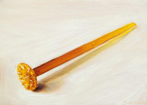 Schilderij Tonicstamper oranje, olieverf op paneel, 13 x 18 cm, Serge de Vries