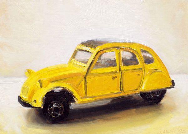Dinky toy nr5, 2cv, olieverf op paneel, 13 x 18 cm, Serge de Vries