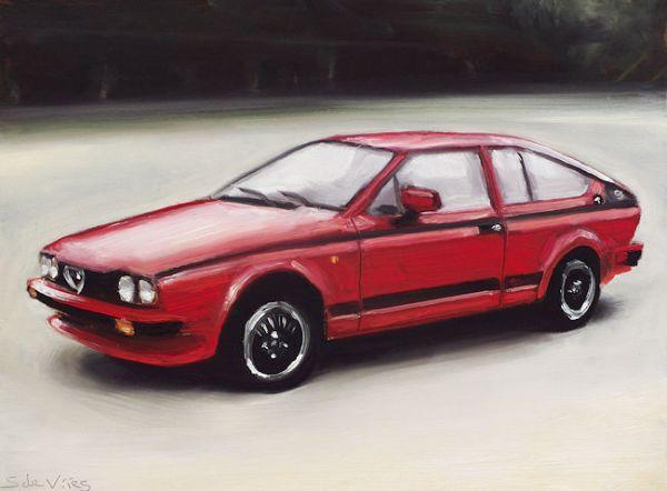 Schilderij Alfa Romeo, olieverf op paneel, 18 x 24 cm, Serge de Vries