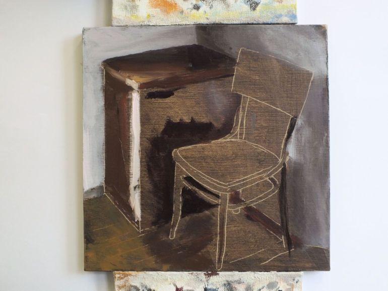 Proces schilderij Lege stoel, Serge de Vries