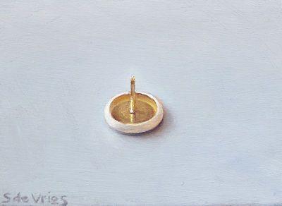 Schilderij Punaise, olieverf op paneel, 5 x 7 cm, Serge de Vries
