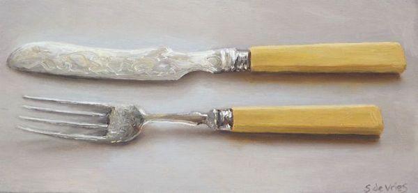 Visbestek, olieverf op paneel, 9,5 x 20,5 cm, Serge de Vries
