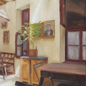 Schilderij Ergens in Praag, olieverf op paneel, 21 x 16 cm, Serge de Vries