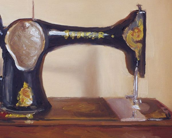 Detail schilderij Naaimachine, olieverf op paneel, 14 x 18 cm, Serge de Vries