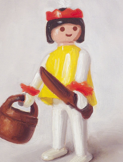Detail Playmobil nr6, indiaan, olieverf op paneel, 18 x 13 cm, Serge de Vries