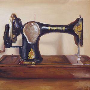 Schilderij Naaimachine, olieverf op paneel, 14 x 18 cm, Serge de Vries