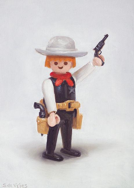 Playmobil nr5, cowboy, olieverf op paneel, 18 x 13 cm, Serge de Vries