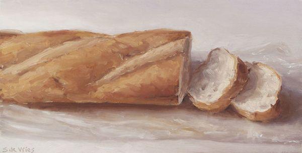 Schilderij Stokbrood, olieverf op paneel, 12 x 23 cm, Serge de Vries