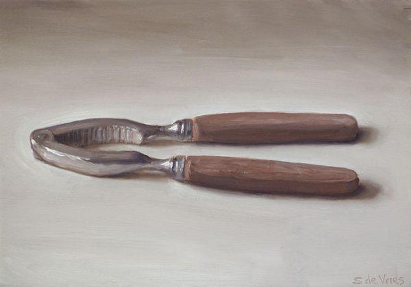 Schilderij Notenkraker, olieverf op paneel, 14 x 20 cm, Serge de Vries
