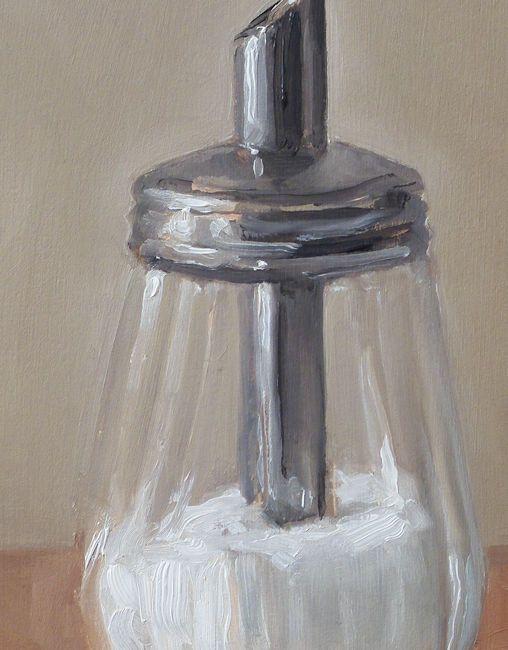 Detail schilderij Suikerpot nr4, olieverf op paneel, 18 x 13 cm, Serge de Vries