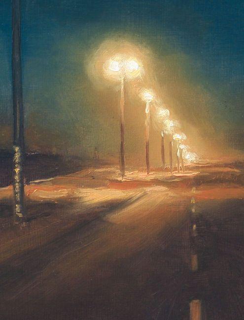 Detail schilderij Weg in de nacht, olieverf op paneel, 19 x 15 cm, Serge de Vries