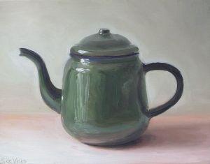 Groene theepot, olieverf op paneel, 16 x 21 cm, Serge de Vries