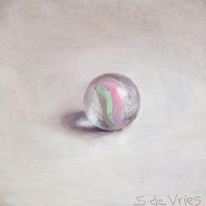 Knikker nr6, olieverf op paneel, 7 x 7 cm, Serge de Vries