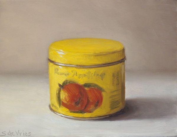 Rinse appelstroop, olieverf op paneel, 14 x 18 cm, Serge de Vries