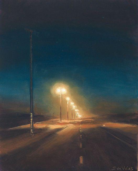 Weg in de nacht, olieverf op paneel, 19 x 15 cm, Serge de Vries