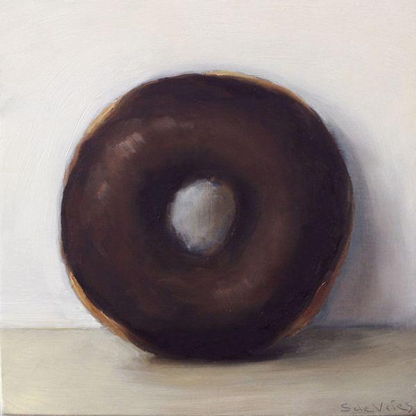 Donut nr4, olieverf op paneel, 14 x 14 cm, Serge de Vries