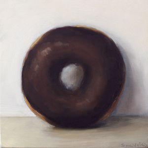 Schilderij Donut nr4, olieverf op paneel, 14 x 14 cm, Serge de Vries