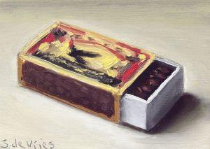 Schilderij Luciferdoosje nr2, olieverf op paneel, 5 x 7 cm, Serge de Vries