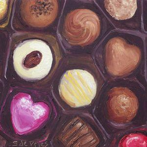 Schilderij Bonbons, olieverf op paneel, 12 x 16 cm, Serge de Vries