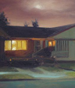 Detail schilderij Huis in de nacht nr2, olieverf op paneel, 19 x 16 cm, Serge de Vries