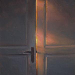 Schilderij Deur op een kier, olieverf op paneel, 18 x 15 cm, Serge de Vries