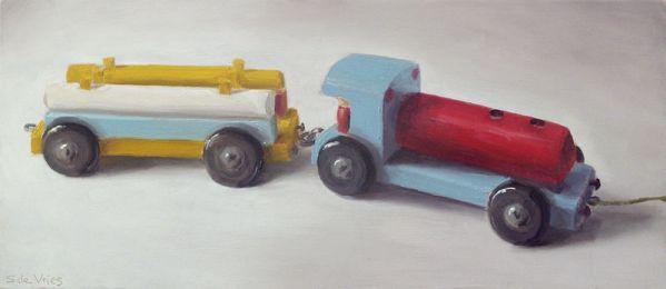 Houten trein, olieverf op paneel, 12 x 28 cm, Serge de Vries