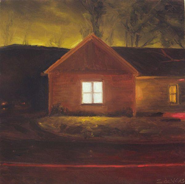 Huis in de nacht nr3, olieverf op paneel, 16 x 16 cm, Serge de Vries