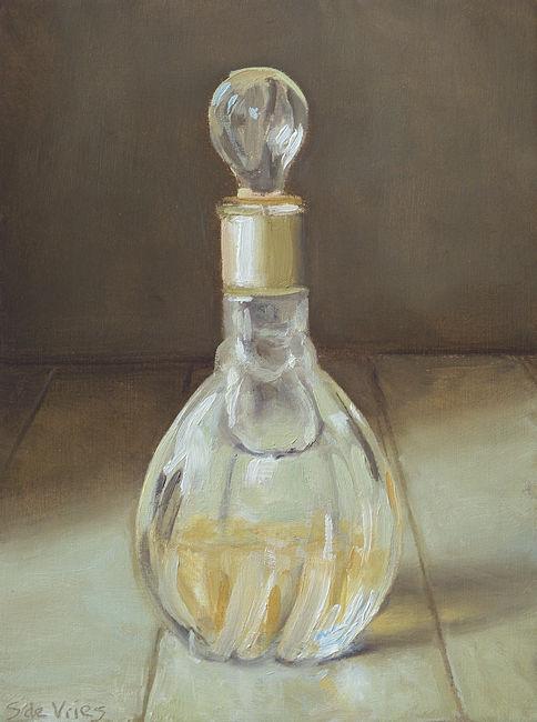 Parfumfles nr5, olieverf op paneel, 16 x 12 cm, Serge de Vries