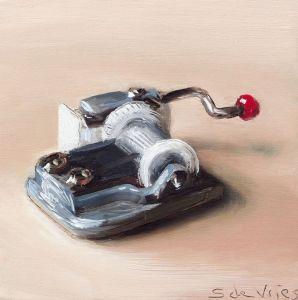 Schilderij Muziekdoosje, olieverf op paneel, 10 x 10 cm, Serge de Vries