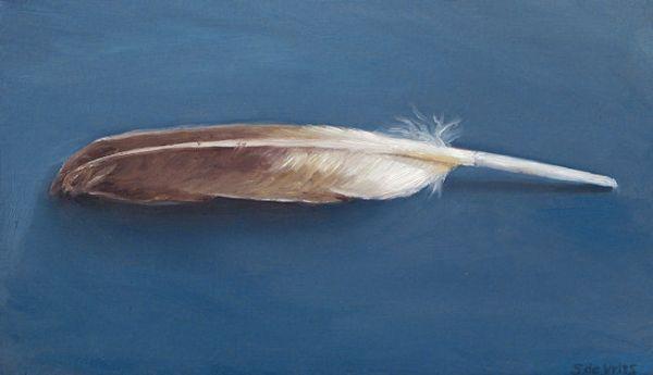 Veer, olieverf op paneel, 11 x 19 cm, Serge de Vries