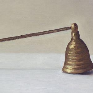 Detail 2 Kaarsendover, olieverf op paneel, 9 x 24 cm, Serge de Vries