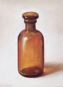 Schilderij Apothekersflesje, olieverf op paneel, 17,5 x 13 cm, Serge de Vries