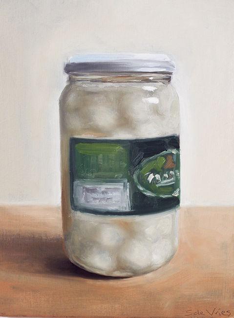 Schilderij Zilveruitjes, olieverf op paneel, 18 x 13 cm, Serge de Vries