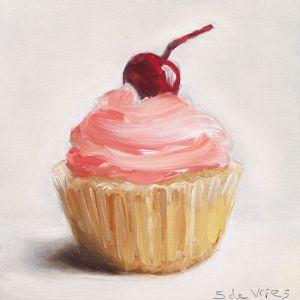 Cupcake, olieverf op paneel, 10 x 10 cm, Serge de Vries