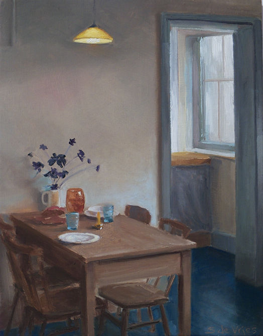 Gedekte tafel, olie op paneel, 19 x 15 cm, Serge de Vries