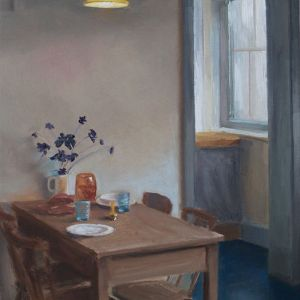 Gedekte tafel, olieverf op paneel, 19 x 15 cm, Serge de Vries