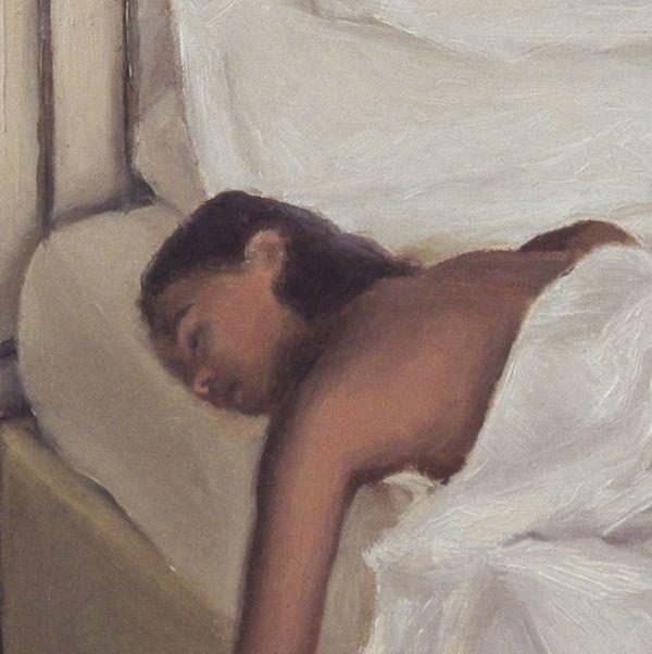 Detail 2 Slapende vrouw, olieverf op paneel, 16 x 16 cm, Serge de Vries