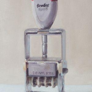 Stempel, olieverf op paneel, 18 x 12 cm, Serge de Vries